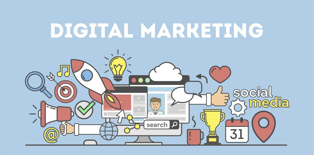 Cartoon showing digital marketing tools and how to invest in digital marketing